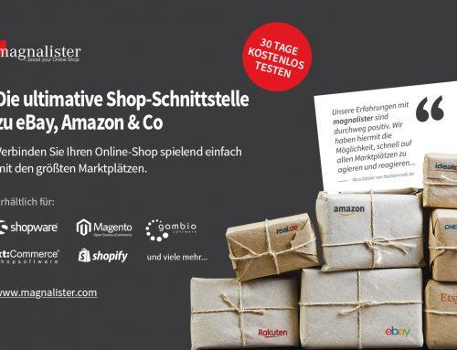 Amazon, eBay und Co. an das eigene Shopsystem anbinden – mit der magnalister Marktplatz Software