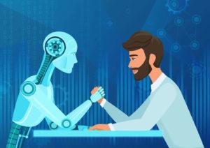 Mensch vs. Maschine gegenüber am Tisch, künstliche Intelligenz
